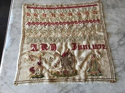 TRUE ANTIQUE!  146 YEARS OLD Rare Antique Dutch Themed Sampler dated 1872 14X14""