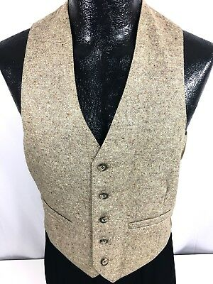 Vtg 60's Men's Brown DONEGAL TWEED Country Waist Coat Button Down Wool Vest 38