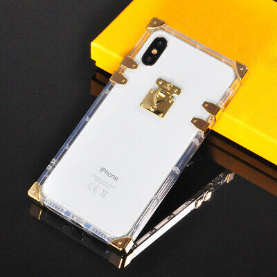 Luxury 2in1 Clear Crystal Square Phone Case Cover +Metal For iPhone X XS 6 7 8 +