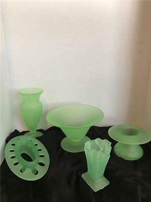 Green~ Frosted Uranium Vaseline Glass Art Deco 5pc lot Vases Flower Frog Vintage