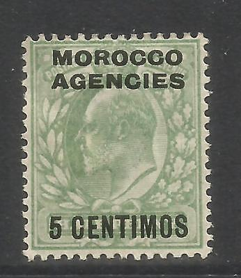 Great Britain 1907-10 Morocco King Edward VII 5c on 1/2p pale green (34) MH