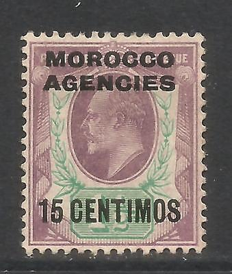 Great Britain 1907-10 Morocco King Edward VII 15c on 1 1/2p vio & green (36) MH