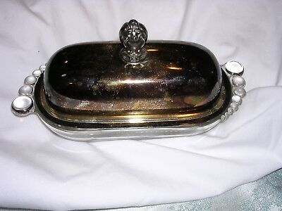 """Wm Rogers & Son Silver-Plated Teardrop Glass Base Butter Dish 387 Antique  7"""""""