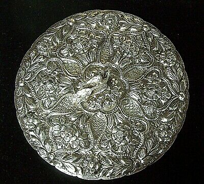 Stunning Vintage EGYPTIAN Sterling Silver Repousse Vanity Mirror w/ PEACOCK Top