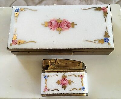 ab4917d72d Vintage Pink Roses Enamel Butterfly Wings Trinket Or Cigarette Box   Lighter