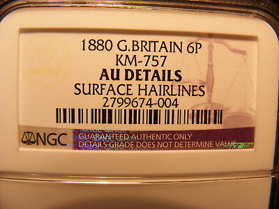 Great Britain 1880 Silver 6 Pence, AU Details - Surface Hairlines, NGC Slab