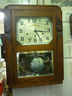 Art Deco Westminster Chime Wall Clock Fully Working With Chime Silent Switch