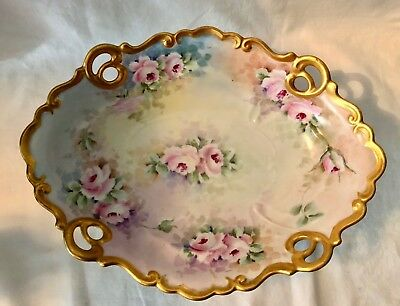 Vintage Unmarked Porcelain Hand Painted, Signed Roses  Centerpiece Dish