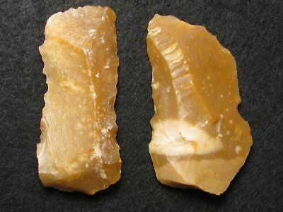 40.000Y.o: 2 Flake Knives Neanderthal Man Flint Stone Age Paleolithic Mousterian