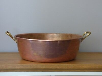 Vintage French Copper Jam pan or planter with Brass handles