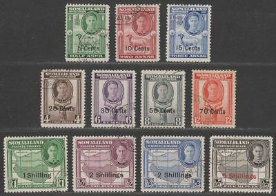 Somaliland Protectorate 1951 KGVI Surcharge Set Used SG125-135 cat £70