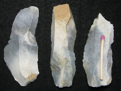60.000Y.o: Ace 3 Flake Knives Neanderthal Stone Age Paleolithic Mousterian Flint