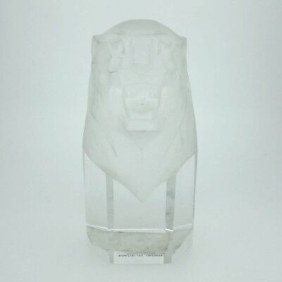 Vintage Hoya Octogonal Short Clear Crystal Paperweight Frosted Roaring Lion Head
