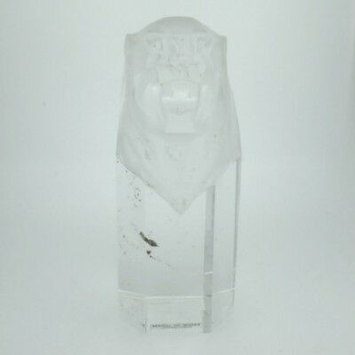 Vintage Hoya Octogonal Clear Tall Crystal Roaring Lion Head Paperweight
