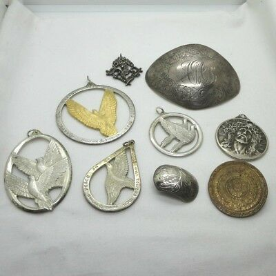 Vintage Sterling Silver Craft Lot Mixed Detailed & Etched Jewelry 9 Pcs 176g