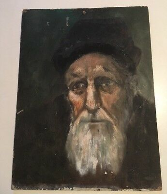 Beautiful Vintage Portrait Painting Oil On Board Male Religious ? Old Man In Hat