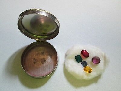 Vintage Elmo Metal Compact with 5 Different Color Jewelry Stones