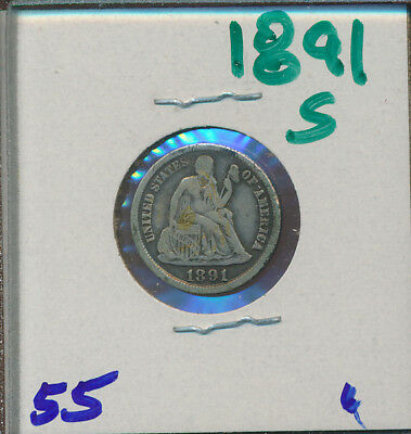 Seated Liberty Dime - 1891-S  -  #55