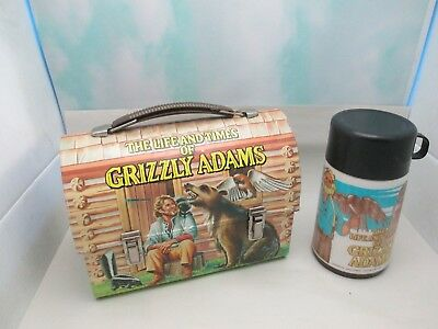 Vintage Metal GRIZZLY ADAMS Lunch Box W/ Thermos
