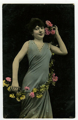 c 1910 Glamour PRETTY YOUNG LADY tinted photo postcard