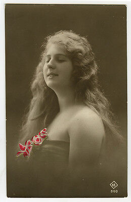 1910s Lovely Young Lady LONG HAIR BEAUTY tinted photo postcard