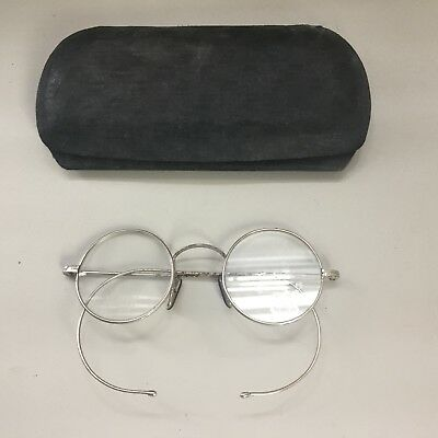 Vintage Silver Coloured Metal Spectacles In Old Glasses Case Opticians
