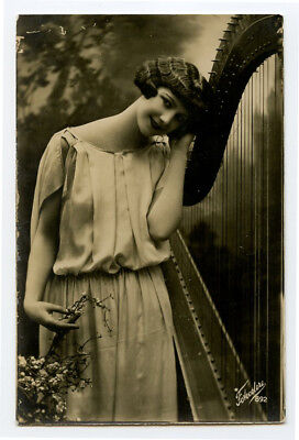 1920s Italian Fashion PRETTY FLAPPER w/ Music Harp Glamor Glamour photo postcard