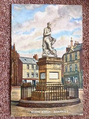 Dumfries - Robert Burns's Statue  USED  1905 & Stamp  VERY CLEAN