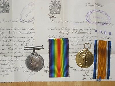 WW1 British Medal Group 7/8 King's Own Scottish Borderers KIA 1917