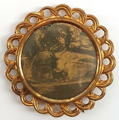 Civil War Devil's Den Gettysburg Early Photo Button Pin 1890's to early 1900's