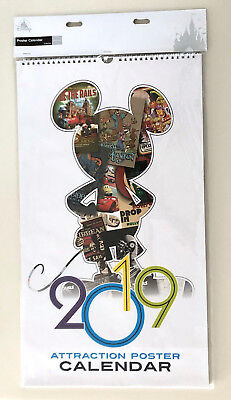 Disney Parks 2019 Attraction Poster Art Print Calendar NEW Very Hard to Find