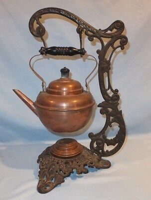 Antique 1892 B & H Bradley and Hubbard Cast Metal copper Tea pot Stand