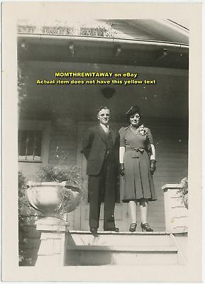 Old Photo Brown Bailey Man Woman Couple on Porch Ohio
