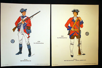 Soldiers of Mackinac Fort Michilimackinac 4 Color Prints 1969 Island State Park