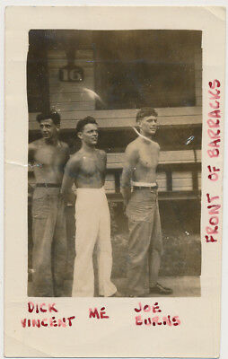 SHIRTLESS PHYSIQUE SAILOR BOYS DICK ME & JOE vtg DUNGAREE MEN TRIO photo GAY INT