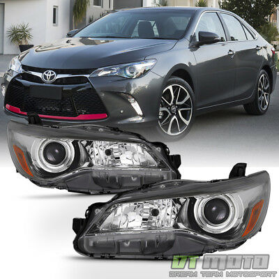 For 2017 2016 Toyota Camry Headlights Black Bezel Trim Headlamps Left Right