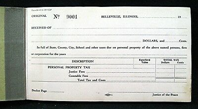 Old Belleville Ill City Receipt Book Justice & Constable Fees Property Tax Forms