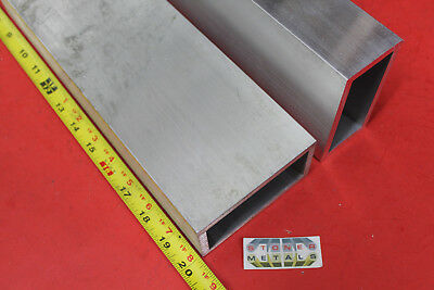 "2 Pieces 2"" x 4"" x 1/4"" Wall ALUMINUM RECTANGLE TUBE 20"" Long 6061 T6"