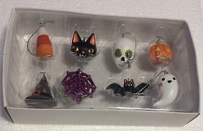 Set of 8 Mini Halloween Black Cat Candy Corn Bat Pumpkin Bat Witch Hat Skull