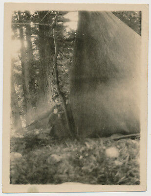 MYSTERIOUS WOMAN STOKING FIRE by CAMP TENT vtg UNUSUAL NOIR photo ABSTRACT