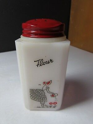 Vintage Tipp City Watering Can Lady Kitchen Glass Flour  Range Shaker
