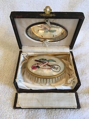 Vintage Leather Art Deco Travel Brush & Comb Set Hand Painted Nude Lady NR