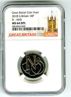 2018 10P Great Britain ' N '- Nhs Ngc Ms64 Dpl British Coin Hunt Deep Proof Like