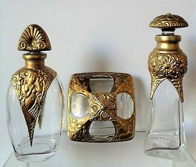 Lot With 3 Art Deco, Gold Gilt Perfume Bottles In Different Shapes