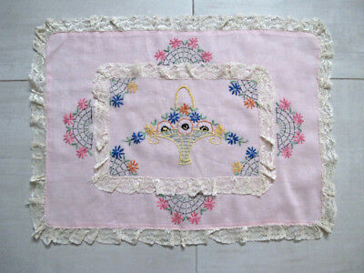 Vintage hand embroidery flowers & rose linen with lace cushion pillow cover