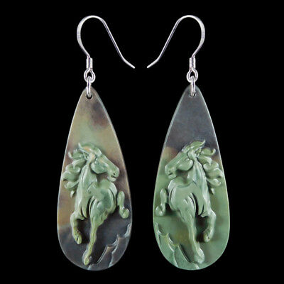 Carved Horse Silver Earring EJ900483