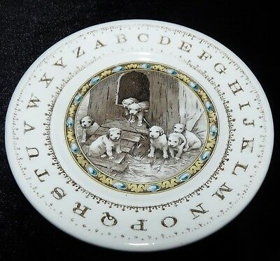 Hotel China Child's Plate Dogs Puppies Alphabet Antique