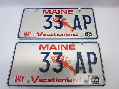 "Pair of VINTAGE Maine 2000 Lobster License Plates ""33 AP"" as Pictured"