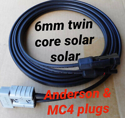 Anderson style plug 50 AMP 6mm² twin core DC solar cable 1 meter lead  with MC4