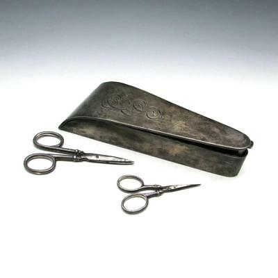 Antique Victorian English Sterling Silver Sewing Scissors Kit Box Set Birmingham